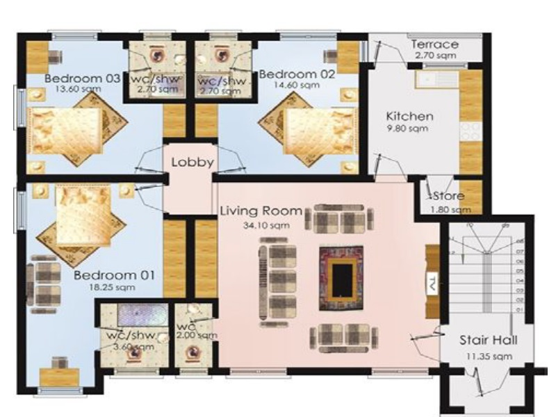 3 bedrrom floor plan